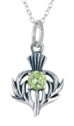 STERLING SILVER THISTLE BIRTHSTONE PENDANT NECKLACE JEWELLERY AUGUST