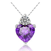 Fajewellery Ladies Element Crystal White Gold Plated Amethyst Heart pendant necklace for Women or Girls