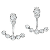 Rhodium On 925 Sterling Silver Clear Cubic Zirconia 2 in 1 Stud and Jacket Ear Cuff Earrings