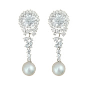 QUKE Bridal Wedding Ivory Colour Cream Simulated Pearl Dangle Elegant Earrings Clear Austrian Crystal