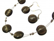 Necklace and Earring Set Jewellery Sets Glass Jewellery Glass Bead Necklaces Grey