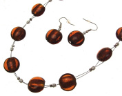 Necklace and Earring Set Jewellery Sets Glass Jewellery Glass Bead Necklaces Brown