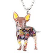 BONSNY Signature Collection Chihuahua Dog Statement Long Drop Pendant Necklace