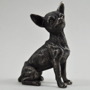 Chihuahua Small Cold Cast Bronze Statue Sculpture Pets Gift Idea H9.5m