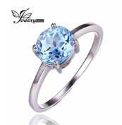Natural Sky Blue Topaz Solitaire Ring Round Cut 925 Sterling Silver - Choose a Size
