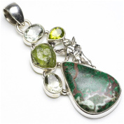 StarGems(tm) Natural Chrysocolla,Drusy Druzy,Peridot And Green Amethyst Punk Style 925 Sterling Silver Pendant 6.4cm