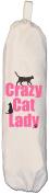 Crazy Cat Lady design - Carrier Bag Holder - Natural cotton plastic bag storage