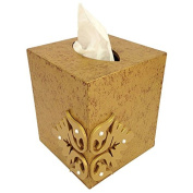 Wooden Facial Tissue Box Holder (Golden) with Elegant motifs on all 4 sides