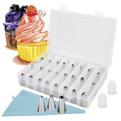 26pcs Icing Piping Nozzle Tips Set, Reechin Cake Sugarcraft Decorating Tool with 1 Reusable Bag, 2 Reusable Coupler & Storage Case for Cakes Cupcakes Baking Cookies Pastry, Fits Kids Beginners