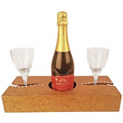 Decorative Wooden Wine Bottle Holder with Bling, slot for 1 Wine Bottle and 2 Wine Glasses on the side