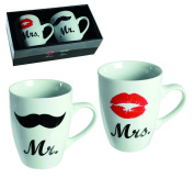 Fun Idea For Mr & Mrs Porcelain Mugs Cups - Novelty Design Mug Set - Christmas Xmas Secret Santa Stocking Filler Birthday Valentines Anniversary Gift Present Idea - Women Woman Lady Ladies Man Men Gents Her Him - One Set Supplied