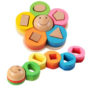 CoscosX 1pc Baby Wooden Flowers Shape Geometric Shape Sorter Nesting Stacker Block Education puzzle Toy