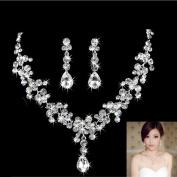Dairysop Elegant Wedding Bridal Rhinestone Crystal Drop Necklace Earring Jewellery Sets