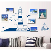 Blue Sailboat Seagull Wall Sticker House Decal Removable Living Room Wallpaper Bedroom Kitchen Art Picture PVC Murals Sticks Window Door Decoration + 3D Frog Car Sticker Gift