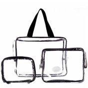 Rohans cosmetic clear Three-Piece PVC Bag Toiletry Travel Set Wash Bag Holder Pouch Kit