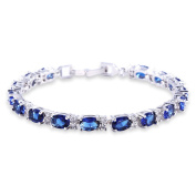 GULICX White Gold Electroplated Cubic Zirconia Blue Crystal Bangle Roman Tennis Bracelet Sapphire Colour Link Chain