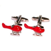Silver & Red Helicopter Chopper Cufflinks With Gift Pouch Pilot Flying Present