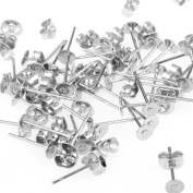 Ecloud Shop 50 Silver Plated Flat Pad Studs Earring Back Post 4x11mm FASHION