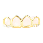 4 Teeth Gold Grill - One size fits all - HOLLOW Top
