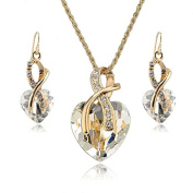 Crystal Heart Necklace Earrings Jewellery Set Free Gift Bag