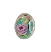 Green & Gold Murano Glass With Pink Flower Bead - Slide On & Off Bracelet Bead Charms - Fit Pandora Charms Bracelet