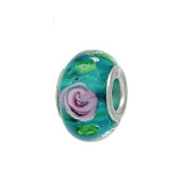 Green Murano Glass With Pink Flower Bead - Slide On & Off Bracelet Bead Charms - Fit Pandora Charm