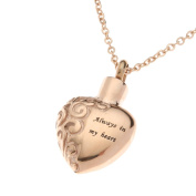 "Urns UK 2.5 x 1.8 x 0.3 cm ""Chelsea Design 13b"" Cremation Ashes Jewellery Pendant with Chain, Rose Gold"