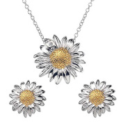findout sterling silver diamond daisy pendant necklace + earrings set
