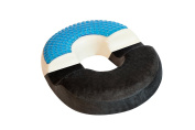Large bonmedico® orthopaedic surgical ring / donut pillow with innovative gel cushion for relief of haemorrhoids (piles) and coccyx pain and discomfort, suitable for wheelchair, car seat, home, office or travel, in black