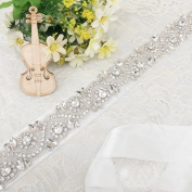 Trlyc Ivory Ribbon Crystal Stone Beaded Wedding Dress Belt, Bridal Sash Handmade Tg998