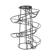 CORNERIA Spiralling Black Metal Freestanding Egg Skelter Dispenser Rack