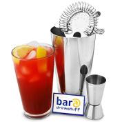 Basic Cocktail Shaker Set by bar@drinkstuff - Cocktail Set with Professional Boston Cocktail Shaker Tin & Glass, Jigger Measure & Hawthorne Cocktail Strainer - Affordable Gift Set