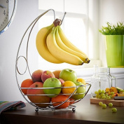 VonShef Fruit Bowl / Fruit Holder Wire Display Basket with Banana Hanger Hook - Chrome