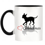 . Heart Chihuahuas Design Two-Tone Mug with Black Handle & Inner
