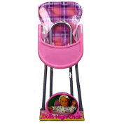 Girls Pink Pretend Play Doll High Chair Feeding Accessory Toy Children House Play Fun Activity Indoor Outdoor Gift Xmas Birthday Set