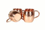 Hammered Copper Moscow Mule Mug Set of 4 Barrel
