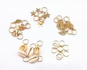 yueton 30pcs Gold Ring Shell Hands Leaves Star Pendant Rings Set Hair Clip Headband Hair Accessories