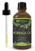 UpNature The Best Moringa Oil 120ml - Organic Cold Pressed - 100% Pure & Natural, Undiluted & Unfiltered, Premium Quality With Glass Dropper - Oleifera Oil Perfect For Use For Hair ,Skin And Face