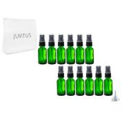 Green Glass Boston Round Black Fine Mist Spray Bottle - 30ml (12 Pack) + Clear Travel Bag and Funnel