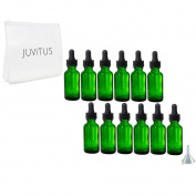 Green Glass Boston Round Dropper Bottle - 30ml (12 Pack) + Clear Travel Bag and Funnel