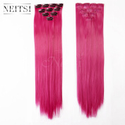 Neitsi® 10pcs 46cm Coloured Highlight Synthetic Clip on in Hair Extensions #F09 Rose
