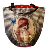 "Shopping Bag with Round Base, French Design ""Retro Parisian Lady"", 36cm X 43cm X 25cm"