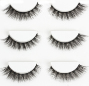 Wehous 3 Pairs Luxurious Real Mink 3D Natural Cross Thick False Eyelashes Eye Lashes Makeup