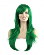 Kalyss Western Women's Wig Long Curly Wavy Curly Synthetic Green Colour Full Hair Wig
