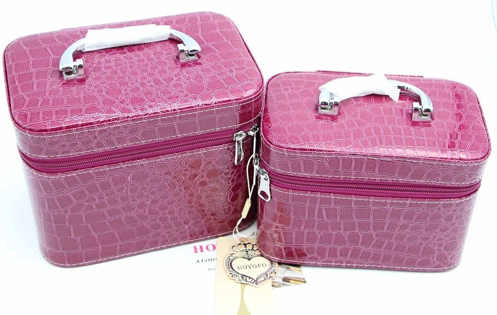 bc7b2a190494 HOYOFO 2-Piece Stone Texture Cosmetic Train Case Set Large Makeup Bags with  Mirror,Purple