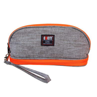 BUBM Portable Women Makeup Bag/ Travel Cosmetic Carry Pouch Toiletry Kit Organiser with Handle( Grey and Orange)