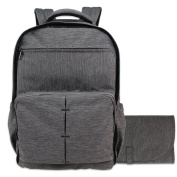 Damero Travel Nappy Backpack Baby Nappy Bag with Large Changing Pad, Dark Grey