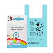 Mom Easy Extra Large Heavy Duty Unscented Nappy Sacks 200 Counts Easy-Tie Nappy Bags