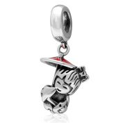 Leobeads S925 Sterling Silver Japanese Little Girl with Umbrella Dangle Charms Pendant with Red Enamel Fit DIY Pandora Style Bracelet Necklace