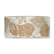 FloristryWarehouse Cream and Brown Leaf Print Fabric Ribbon 3.8cm wide x 9.5yd Roll